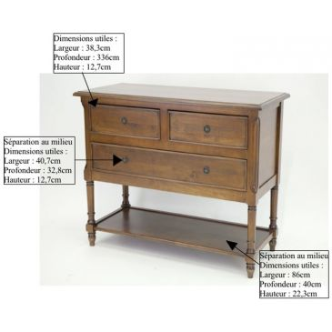 Commode Style Classique 3 Tiroirs Bois Massif Beaubourg