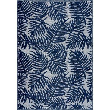 Tapis d'Extérieur Burish Tressé Recto/Verso Bleu Résistant aux UV  | ZeWebMarket.com