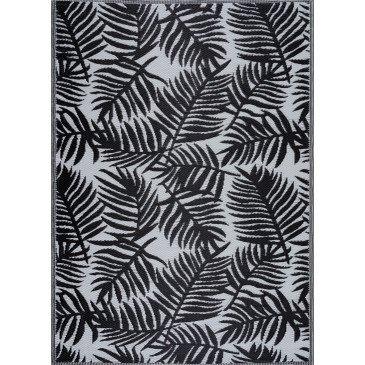 Tapis d'Extérieur Burish Tressé Recto/Verso Noir Résistant aux UV  | ZeWebMarket.com