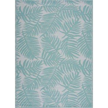 Tapis d'Extérieur Burish Tressé Recto/Verso Turquoise Résistant aux UV  | ZeWebMarket.com