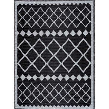 Tapis d'Extérieur Krula Tressé Recto/Verso Noir Résistant aux UV  | ZeWebMarket.com