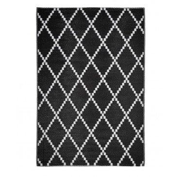 Tapis d'Extérieur Curl Tressé Recto/Verso Noir Résistant aux UV  | ZeWebMarket.com