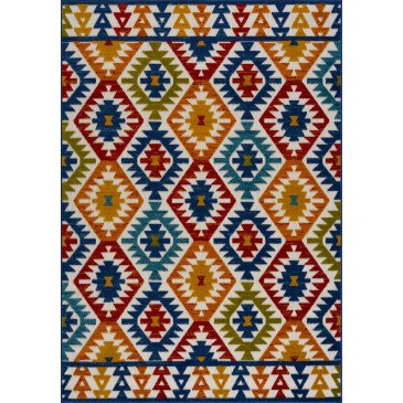 Tapis d'Extérieur Capanna Motifs en Relief Multicolor Résistant aux UV 3  | ZeWebMarket.com