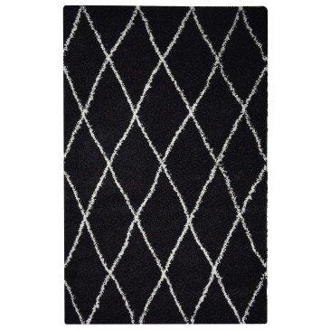 Tapis Tétouan Noir Motifs Berbères Shaggy  | cosy-home-design.fr