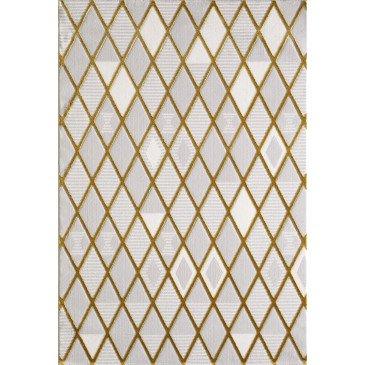 Tapis Usak Effet 3D Gold Motifs Marbre Effet 3D Losanges  | cosy-home-design.fr