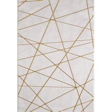 Tapis Sorkun Effet 3D Gold Motifs Marbre Effet 3D  | cosy-home-design.fr