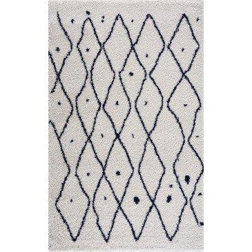 Tapis Nova Bleu Motifs Berbères Shaggy Losanges Moyens  | cosy-home-design.fr