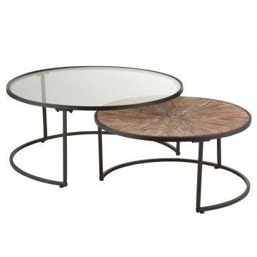 Set de 2 Tables Gigognes Rondes Métal Noir  | cosy-home-design.fr