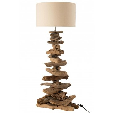 Lampe et Abat-Jour Bois Flotté Naturel Beige Medium  | cosy-home-design.fr