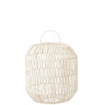 Abat-Jour Cylindrique Rotin Blanc  | cosy-home-design.fr