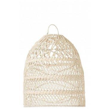 Abat-Jour Vagues Rotin Blanc  | cosy-home-design.fr