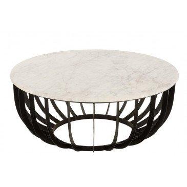 Table de Salon Ronde Marbre Métal Blanc Noir Large    cosy-home-design.fr