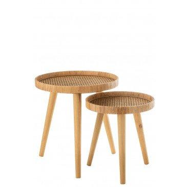 Set de 2 Tables Gigognes Rondes Trépied Rotin Naturel  | cosy-home-design.fr
