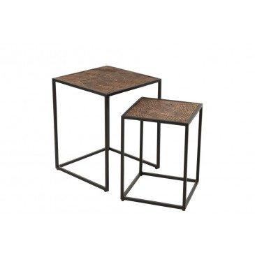 Set de 2 Tables Gigognes Ano Métal Bois de Manguier Noir Marron  | cosy-home-design.fr