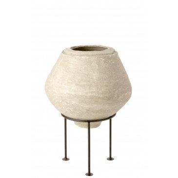 Pot sur Pied Chad Papier Mâché Blanc  | cosy-home-design.fr