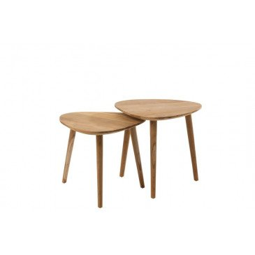 Set de 2 Tables Giigognes Alis Teck Naturel    cosy-home-design.fr