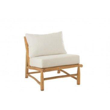 Fauteuil 1 Personne Elise Teck Naturel Blanc    cosy-home-design.fr