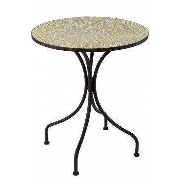 Table Eclat Mosaïque Métal Verre Noir Jaune Pale  | cosy-home-design.fr