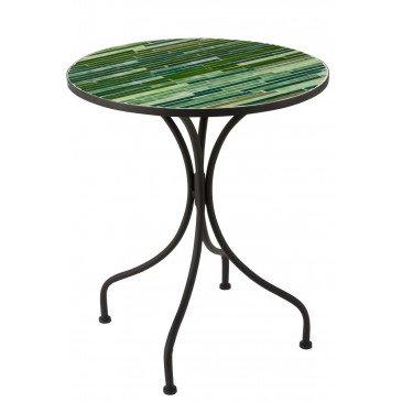 Table Lignes Mosaïque Métal Verre Noir Vert  | cosy-home-design.fr