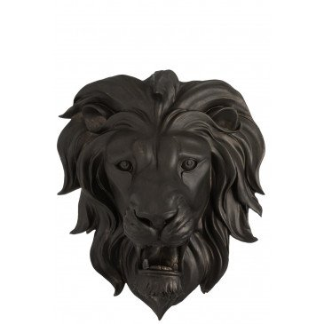 Tête de Lion Suspendue Résine Noire    cosy-home-design.fr