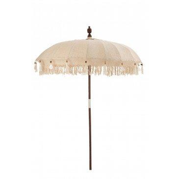 Parasol et Pied Floches Coquillages Beige Bois Marron Fonce Large  | cosy-home-design.fr