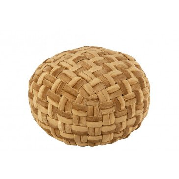 Pouf Crocheté Viscose Rond Or  | cosy-home-design.fr