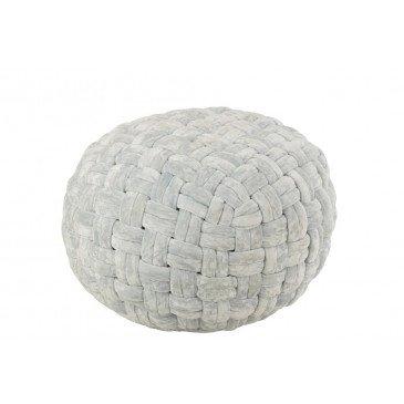 Pouf Crocheté Viscose Rond Bleu  | cosy-home-design.fr