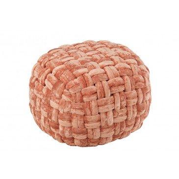 Pouf Crocheté Viscose Rond Rose Orange  | cosy-home-design.fr