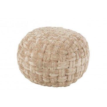 Pouf Crocheté Viscose Rond Beige  | cosy-home-design.fr