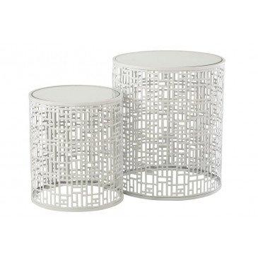 Set de 2 Tables Gigognes Motif Métal Miroir Blanc  | cosy-home-design.fr