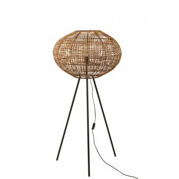 Lampe Trépied Rotin Métal Marron Noir Small  | cosy-home-design.fr