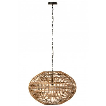 Lampe Suspendue Rotin Métal Marron Noir  | cosy-home-design.fr