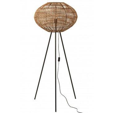 Lampe Trépied Rotin Métal Marron Noir Large  | cosy-home-design.fr