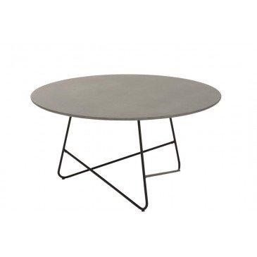 Table Basse Valou Ronde Ciment Acier Inoxydable Gris Noir  | cosy-home-design.fr