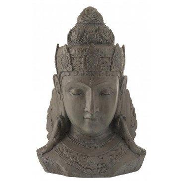 Tête Bouddha Magnésie Gris Large    cosy-home-design.fr