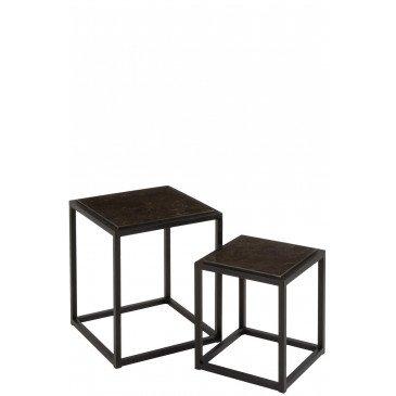 Set de 2 Tables Gigognes Basses Carrées Métal Noir    cosy-home-design.fr