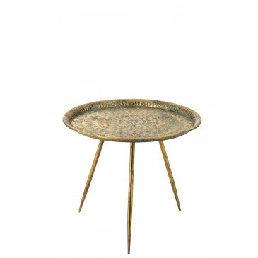Table d'Appoint Orientale Métal Or Vieilli Large  | cosy-home-design.fr