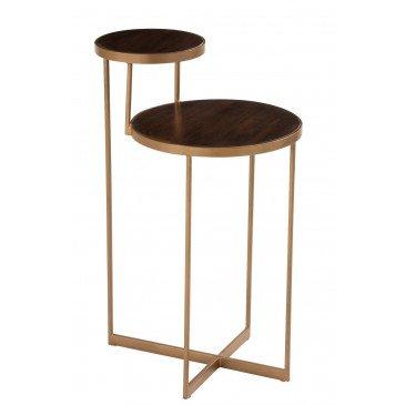 Table Gigogne Rafi 2 Niveaux Fer Bois de Manguier Or Brun Fonce  | cosy-home-design.fr