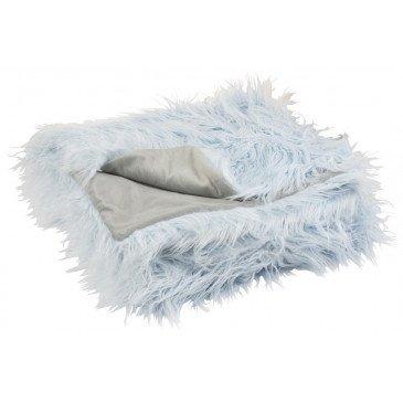 Plaid Poils Longs Fourrure Bleu  | cosy-home-design.fr