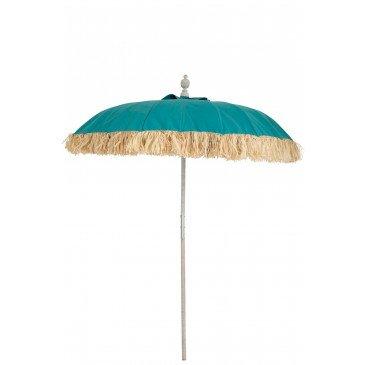 Parasol Raphia Textile Bleu Bois Blanc Wash  | cosy-home-design.fr
