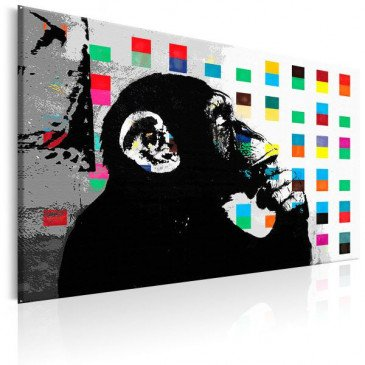 Tableau Banksy The Thinker Monkey  | cosy-home-design.fr