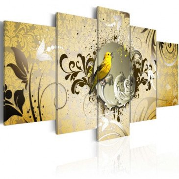 Tableau Yellow bird singing  | cosy-home-design.fr