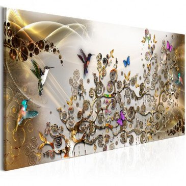 Tableau Hummingbirds Dance 1 Pièce Gold Narrow  | cosy-home-design.fr