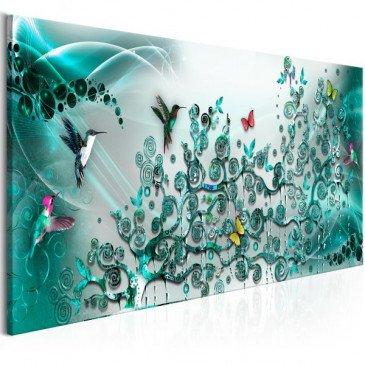 Tableau Hummingbirds Dance 1 Pièce Turquoise Narrow  | cosy-home-design.fr