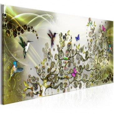 Tableau Hummingbirds Dance 1 Pièce Green Narrow  | cosy-home-design.fr