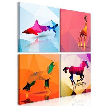 Tableau Geometric Animals 4 Pièces  | cosy-home-design.fr