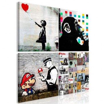 Tableau Banksy Collage 4 Pièces  | cosy-home-design.fr
