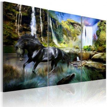 Tableau Cheval sur fond de cascade bleue  | cosy-home-design.fr