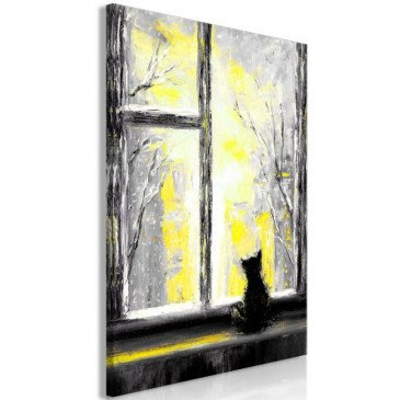 Tableau Longing Kitty 1 Pièce Vertical Yellow  | cosy-home-design.fr
