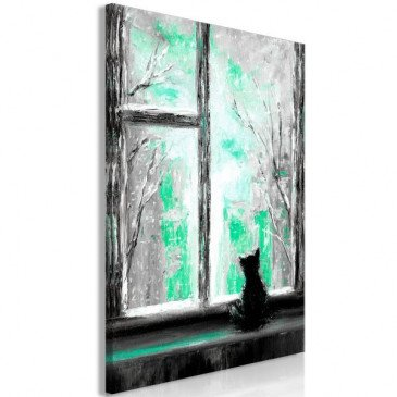 Tableau Longing Kitty 1 Pièce Vertical Green  | cosy-home-design.fr